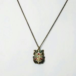 Fossil Pavé frog necklace